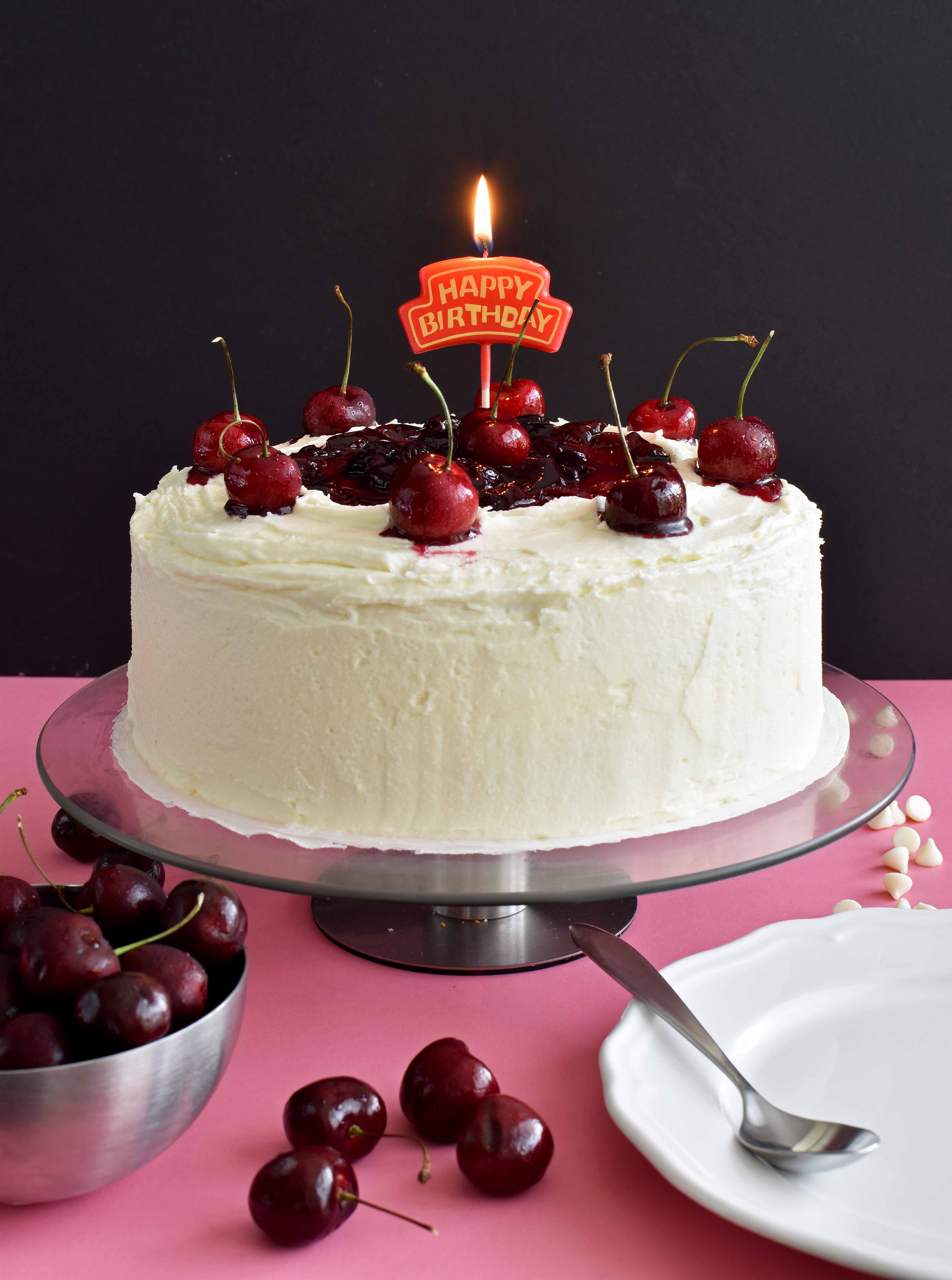 Super White Chocolate Cake With Cherry Sauce Pepper Delight Birthday Cards Printable Nowaargucafe Filternl
