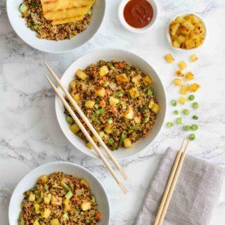 Quinoa Fried Rice with Grilled Pineapple- Pepper Delight #pepperdelightblog #recipe #quinoa #friedrice #quinoafriedrice #vegeterian #healthy #takeoutrecipes #cleaneating #mealprep #asianrecipes #kidsfriendlyrecipes #eatgreen #eatveggies