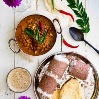 puttu served with chai and kadala curry