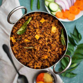 Healthy & Nutritious, Shredded Soya chunks roasted in a spicy aromatic masala.